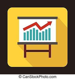 Growing chart presentation icon, flat style