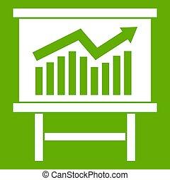 Growing chart presentation icon green