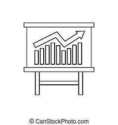 Growing chart presentation icon, outline style
