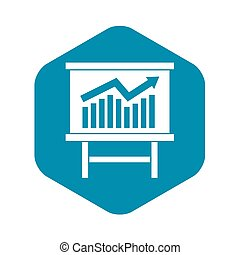 Growing chart presentation icon, simple style