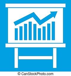 Growing chart presentation icon white