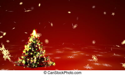 Growing Christmas tree with surrealistic plasma lights and blizzard of gold snowflakes on a red background