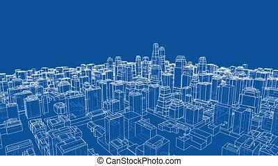 Growing City blueprint style turntable video - Growing City...