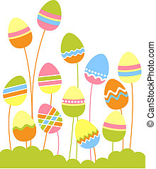 Growing easter eggs - Stylized growing easter eggs on green...