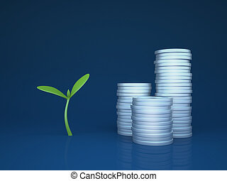 Growing funds / investments (3d simple business concepts and metaphors series)