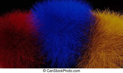 growing furry pompons in red, blue and yellow on white desk background. Funny hairy multicolored sphere objects increasing and decreasing, animated 3d render movie