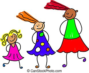 growing girls - happy and diverse group of girls at...