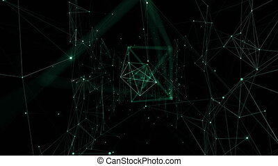 Growing Global Network Grid with Glowing Lights Moving Through. Looped 3d Animation. Digital Technology and Information Concept. 4k Ultra HD 3840x2160.