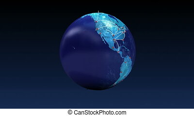 Growing Global Network with airplane, train, ship, car transportation, world map, earth.
