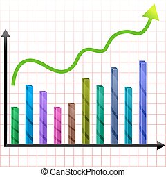 growing graph - illustration of growing graph with arrow