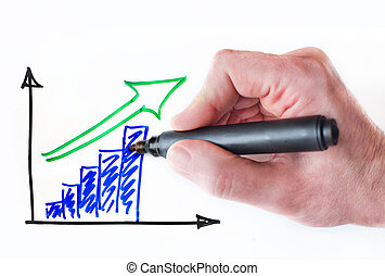 Growing graph - Hand drawing growing graph on whiteboard