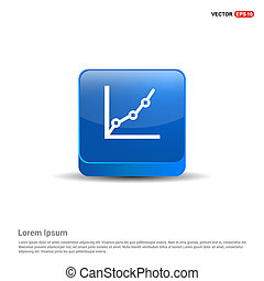 Growing graph icon - 3d Blue Button
