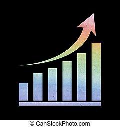 Growing graph icon - Vector growing graph icon. Vector...