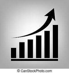 Growing graph icon - Growing graph. Flat style icon. Vector...
