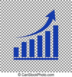 Growing graph sign. Blue icon on transparent background.