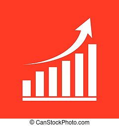 Growing graph sign. White icon on red background.