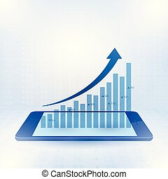 Growing graph sign to the top of business profits on smart phone