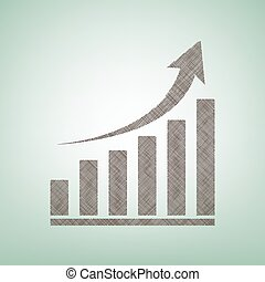 Growing graph sign. Vector. Brown flax icon on green background with light spot at the center.