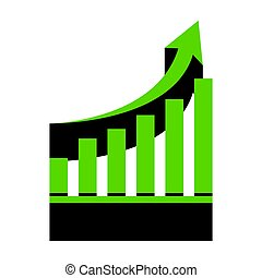 Growing graph sign. Vector. Green 3d icon with black side on whi