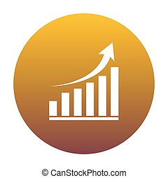 Growing graph sign. White icon in circle with golden gradient as