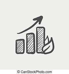Growing graph sketch icon