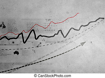 Growing graph - Background image with graph on wall rising...