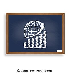 Growing graph with earth. White chalk icon on blue school board