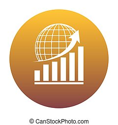 Growing graph with earth. White icon in circle with golden gradi