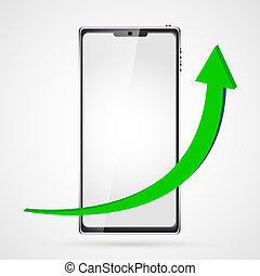 growing graph with green arrow upwards on black smart phone background smartphone with touch screen, modern realistic. Vector illustration