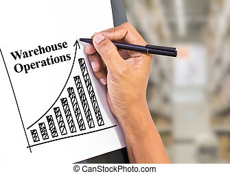 growing graph with warehouse - hand writing growing graph...