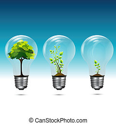 illustration of growing plant in electric bulb