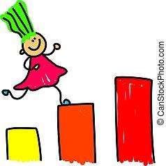 growing kid - little girl climbing the upwards steps -...