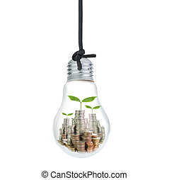 Growing money inside your idea bulb isolated with whie ...