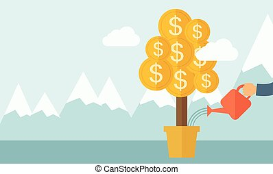 A human hand watering money dollar coin tree to grow bigger. Hardworking concept. A contemporary style with pastel palette soft blue tinted background with desaturated clouds. Vector flat design illustration. Horizontal layout.