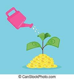 Growing money tree vector