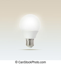 growing of led light bulb floating on gradient light blue to...