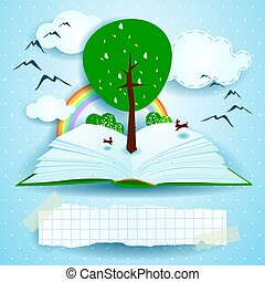 Growing, open book with landscape and tree. Vector illustration eps10