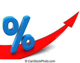 growing percent - 3d illustration of raising arrow and...