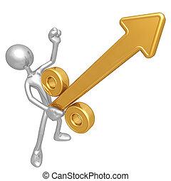 Growing Percentage Arrow - A Concept And Presentation Figure...