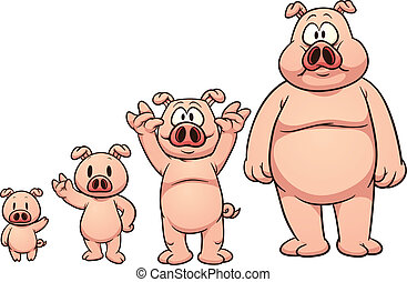 Cartoon pig growing up. Vector clip art illustration with simple gradients. Each on a separate layer.