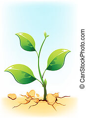 Growing Plant - illustration of plant sapling growing on...