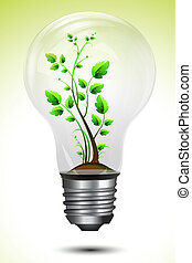 illustration of growing plant inside bulb on abstract background