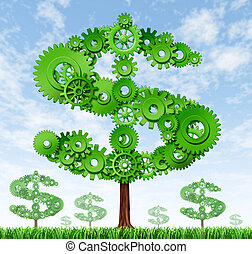 Growing profits - Making money and building wealth symbol...