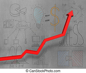 Growing red arrow with business doodles on wall