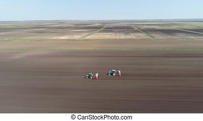 Growing salad on the farm field. - Aerial view Special...