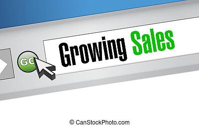growing sales website sign concept