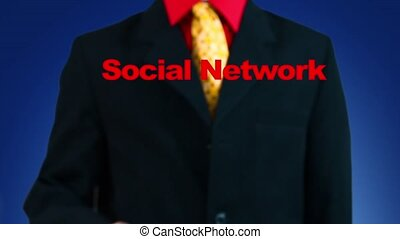 Growing social network - Hand pressing button, symbol of a...
