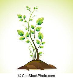 illustration of growing green tree on abstract background