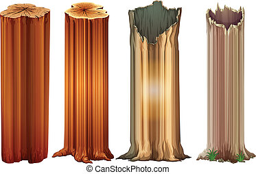 Growing tree stumps - Illustration of the growing tree...
