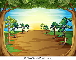 Growing trees at the forest - Illustration of the growing...